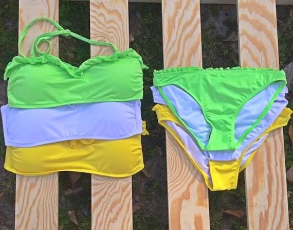 monogram bandeau top with ruffle and bottom bikini set