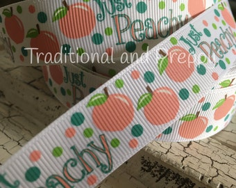 "7/8"" JUST PEACHY Peaches Peach Grosgrain Ribbon sold by the yard"