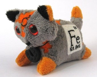 Elemental Cats: Iron - OOAK handmade periodic table science art doll soft toy