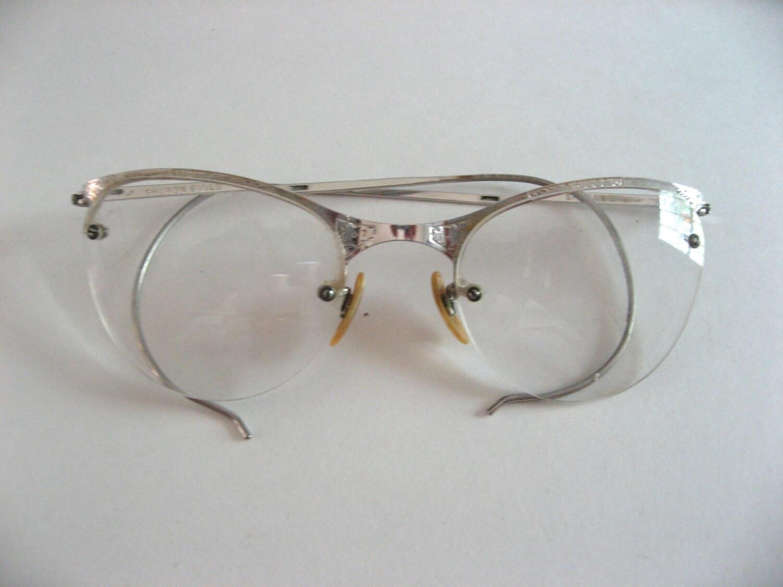 311e467aad82 Silver cat's eye retro eyeglasses. vintage glasses frames with prescription  lenses. Shuron brand,