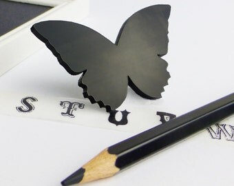 Bold butterfly brooch | Shiny black perspex jewellery | Laser cut butterfly brooch | Modern ladies accessories
