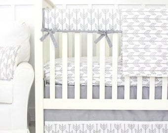 Gray & White Arrow Bumperless Crib Bedding | Gray, White, and Tribal Baby bedding set | Gray Arrow Crib Sheet | Gray  White Teething Guard