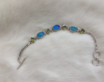 Opals and Peridots Bracelet Sterling Silver