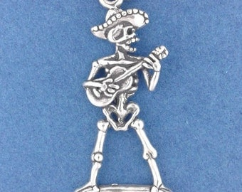 SKELETON With GUITAR Charm .925 Sterling Silver, Guitarist, Rocker, Day Of The Dead, Halloween Pendant - lp4485