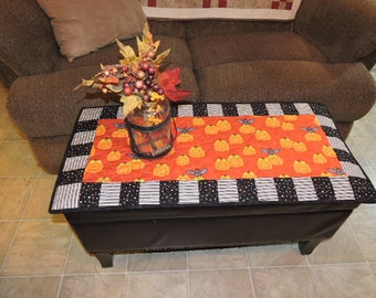 "Quilted HALLOWEEN Runner in Orange, Black and White         34.5"" x 16"""