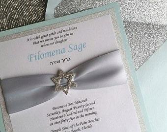 Bat Mitzvah Invitation, Silver Glitter, Mint Green, Square Invite