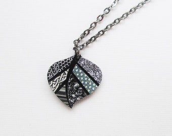 Paper Mosaic Necklace - Upcycled Necklace - Recycled Necklace - Small Leaf Necklace - Black and White