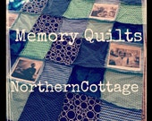 MEMORY Photo Quilt,  RAG QUILT  {You Choose Colors/Style} // Shabby Chic, Rustic Modern, Cottage, Handmade, Luxe, Memory Quilt, Blanket