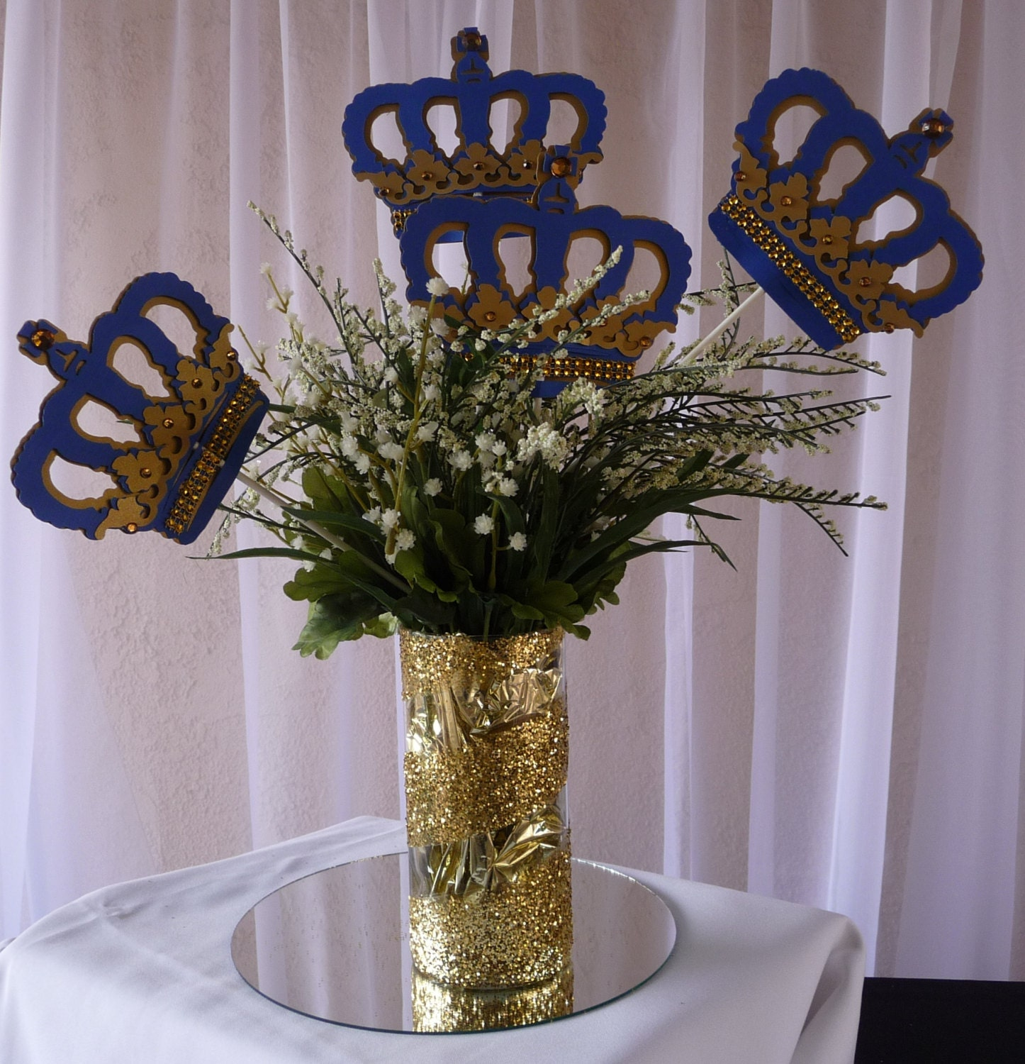 Royal crown centerpiece stick blue and gold baby