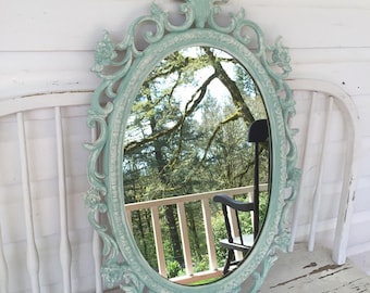 Shabby Chic Nursery Mirror Teal Blue White Distressed Oval Vanity Mirror Decorative Girls Room Wall Mirror
