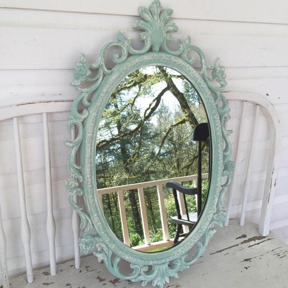 Shabby chic nursery mirror teal blue white distressed oval - Telas shabby chic ...