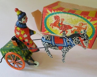 Vintage Russian Wind up Clown On Cart With Horse
