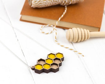 Laser Cut Geometric Honeycomb Necklace