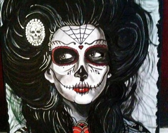Painting 16x20 Day of the Dead Girl Acrylic/Oil on Stretched Canvas!
