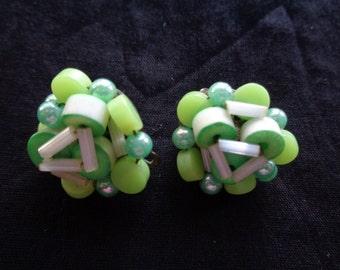 Vintage earrings green beads 1960's clip on