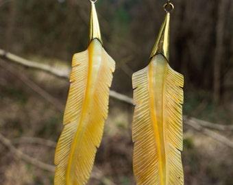 bohemian feathers, handcarving, shell, handmade