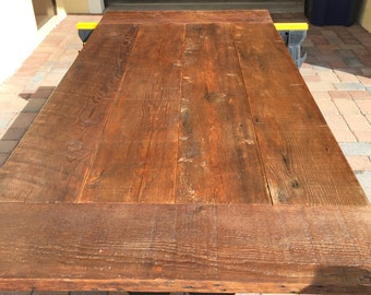 reclaimed wood dining table top to length