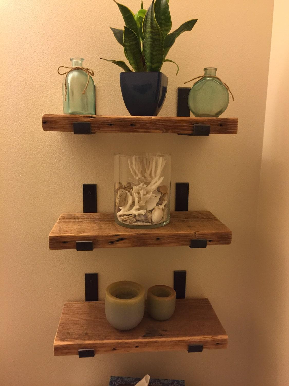 Sets Of 3 Reclaimed Wood Bathroom Shelves With 6 Handmade