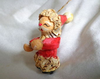 Paper Mache Santa Holding a Present, Nice Older Papier Mache Hand Made Christmas Ornament  FS