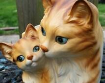 Sale Cat Planter Ceramic Blue Eyes Orange Kitty w Kitten Plant Pot Vintage Napco Japan Container Feline Porcelain Home Decor Animal Gift