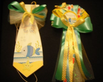 Mommy and Daddy Baby shower corsage Fish/Sea set