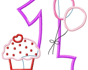 1 year old birthday balloons cupcake applique design download - 5x7 hoop size