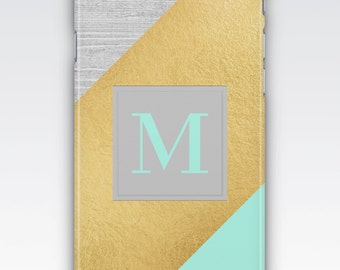 iPhone 6s Case, iPhone 6 Plus Case, iPhone 5s Case, iPhone SE Case, iPhone 5c Case, iPhone 7 case, Blue, Grey and Gold Monogram iPhone Case