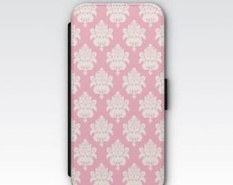 Wallet Case for iPhone 8 Plus, iPhone 8, iPhone 7 Plus, iPhone 7, iPhone 6, iPhone 6s, iPhone 5/5s -  Pink and White Damask Phone Case