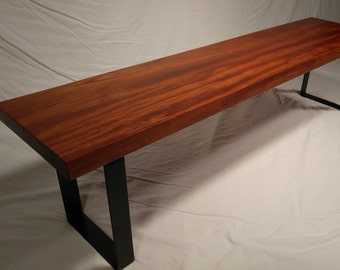Bubinga Slab Bench with Industrial Steel Legs