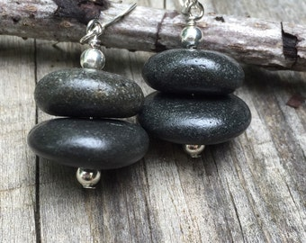 Rock jewelry, stone rock earrings, river rock earring, stacked rock, rock cairn, Beach pebble jewelry, Lake Superior rocks
