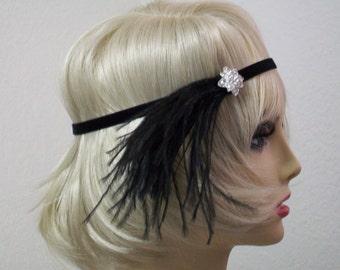 Black 1920s headband, Flapper headpiece, Roaring 20s dress, Gatsby headband, 1920s accessories, Vintage inspired, 1920s Event