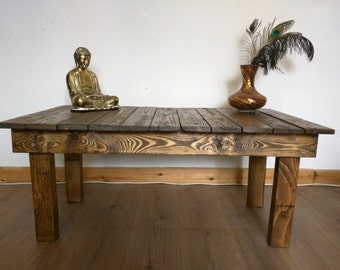 Rustic Solid Wood Coffee Table - Handmade from Reclaimed Wood