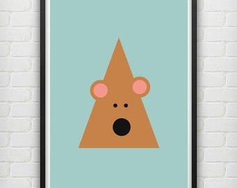Illustrated Bear Poster size A3 (unframed)
