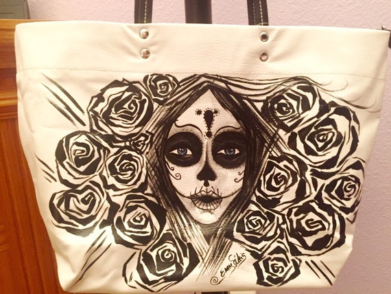 Large Tote - Skull and Roses hand painted US$96.99