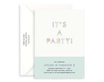 Kids Birthday Invitation, Simple Invitation, Affordable Invitation, Modern Invitation, High Quality Invitation, Printed Invitation