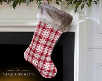 Fur Christmas Stocking, Fur Stocking, Fur Stockings, Faux Fur Christmas Stocking, Faux Fur Stocking, Plaid with Fur Christmas Stocking
