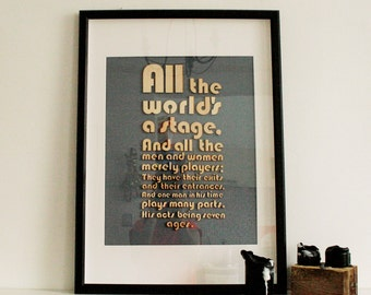 Picture, print, laser cut picture, laser cut quote, Shakespeare, framed picture