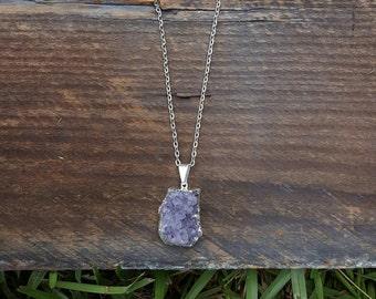 Lavender amethyst druzy cluster necklace