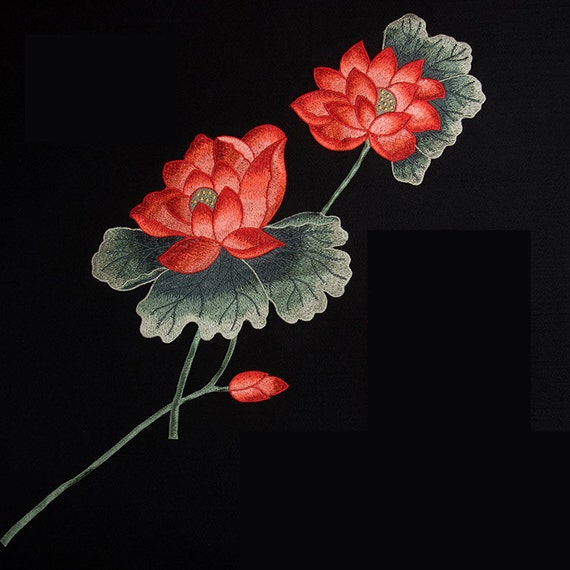 Items similar to embroidery red rose appliqué on etsy