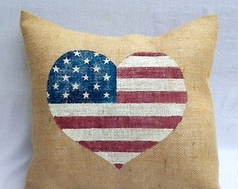 July 4th Burlap Pillow- 4th of July Decor- Red White and Blue Pillow- Patriotic Decor- Independence Day Decor- American Flag Pillow