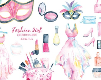 Fashion Girl Collection, watercolor cosmetics, dresses, make-up, shoes and fashion items for instant download