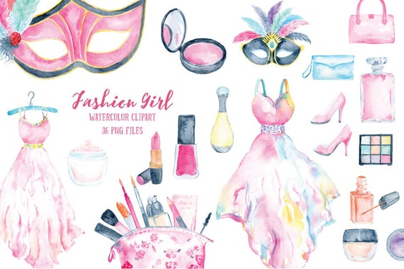Watercolor Clipart Fashion Girl Collection