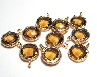 2pcs Sienna Brown Glass Charms Pendant Gold Plated Brass Framed Faceted Flat Round( No.04G)