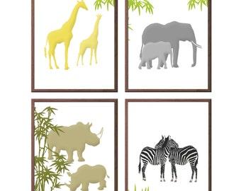 Set of 4 - Any color - Safari Animals - Elephants- Zebra- Giraffe -Rhino - Nursery Decor - Jungle Animals - African Animals