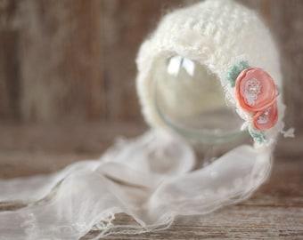 Hat+ Tie back, Mohair Newborn Hat, Baby Girl Bonnet, Vintage Hat, Knit baby hat, Flower Hat, Photo prop, Photography Hat