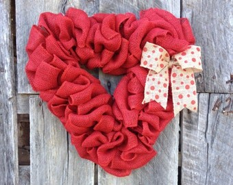 Valentine's Heart Wreath, Burlap Heart Wreath, Valentine's Day Gift, Gift for Her XOXO, Valentine's Day Decor