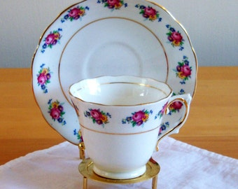 """Colclough Vintage Bone China Teacup and Saucer in """"Spring Bouquet"""""""