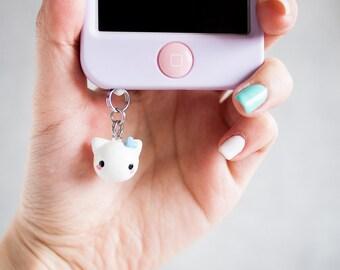 Cute Cat Phone Plug Charm - Phone Jack Charm with Blue Heart