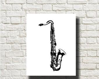 70%OFF Saxophone Musical Instrument Ornament Decoration Printable Graphics Instant Download  DG13030