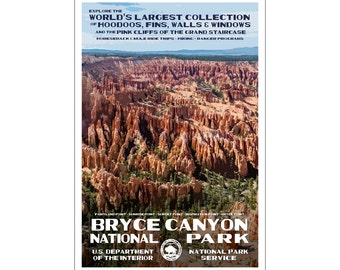 """Bryce Canyon National Park WPA style poster. 13"""" x 19"""" Original artwork, signed by the artist - Free Shipping!"""